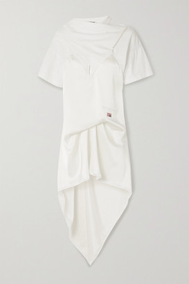 Alexander Wang Appliqued Layered Lace-trimmed Satin And Cotton-jersey Dress