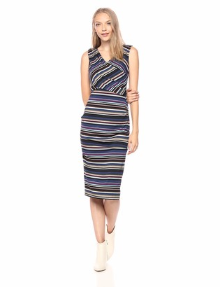 Nicole Miller Women's Flight Stripe Tuck Dress
