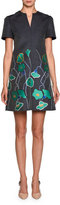 Giorgio Armani Short-Sleeve Floral Denim Dress, Blue/Green