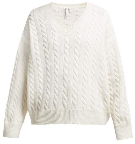 V Neck Wool Sweater - Womens - White