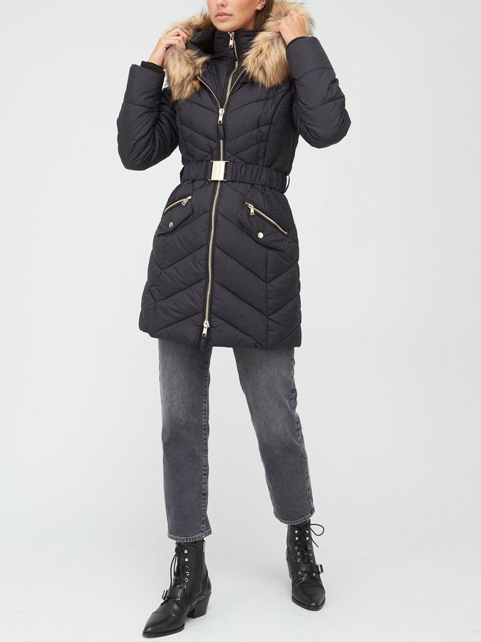 Very Premium Double Placket Padded Coat With Belt - Black