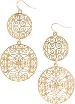 Carole Goldtone Geometric Double-Circle Drop Earrings