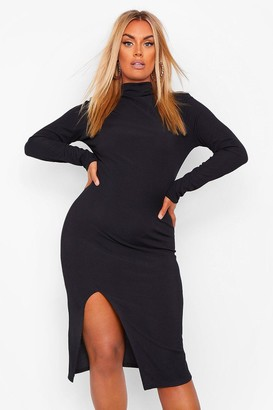boohoo Plus Rib Roll Neck Split Front Midi Dress