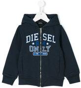 Diesel logo print hoodie - kids - Cotton - 7 yrs