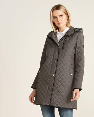 Lauren Ralph Lauren Hooded Faux Leather Trim Quilted Jacket