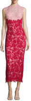Monique Lhuillier Sleeveless Bicolor Lace Midi Dress, Blush/Cherry