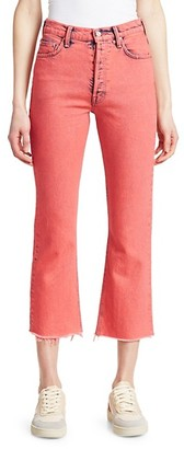 Mother The Tripper Crop Fray Hem Flare Jeans