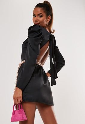 Missguided Black Satin Puff Sleeve Open Tie Back Bodysuit