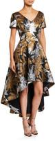 Shani Dramatic High-Low Metallic Jacquard Dress