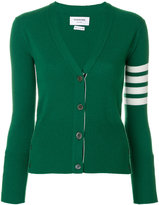 Thom Browne Classic V-Neck Cardigan with 4-Bar Stripe in Green Cashmere