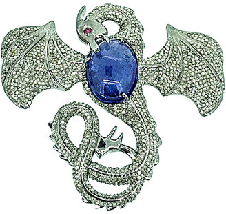 Arthur Marder Fine Jewelry Silver 29.49 Ct. Tw. Diamond & Tanzanite Dragon Pendant