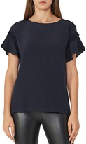 Reiss Mell Ruffled-Sleeve Silk-Front Top