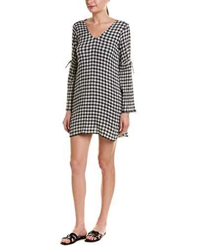 Michael Stars Women's Gingham Gauze Long Sleeve v-Neck Shift Dress