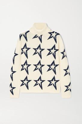 Perfect Moment Star Dust Intarsia Merino Wool Turtleneck Sweater - Ivory