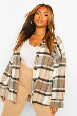 boohoo Plus Supersoft Check Wool Look Boyfriend Shacket