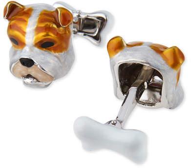 Jan Leslie Sterling Silver and Enamel Dog Face Cuff Links