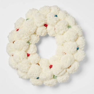 "19"" Artificial Cream Pom Wreath White - OpalhouseTM"