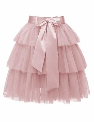 Timormode 10222 High Waist Princess Tulle Skirt Short Tiered Tutu Skirt A-line Dance Party Dresses Burgundy M