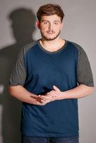 Yours Clothing BadRhino Blue & Grey Raglan T-Shirt With Short Sleeves