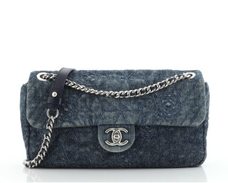 Chanel Chain Flap Bag Camellia Denim Medium