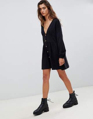 Asos Design DESIGN long sleeve smock dress with buttons and waist panel-Black