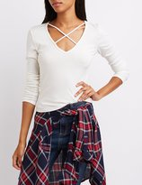 Charlotte Russe Ribbed Strappy V-Neck Top