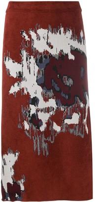 Kenzo glitch intarsia A-line skirt