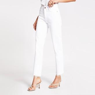 River Island Womens White Blair high rise straight jeans