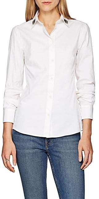 Dolce & Gabbana Women's Appliquéd Cotton Poplin Blouse - White