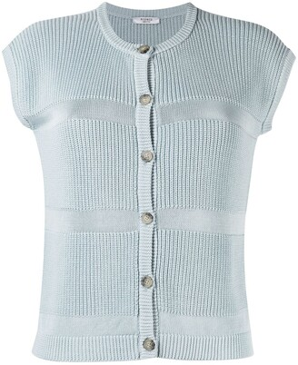 Peserico Purl-Knit Short-Sleeved Knitted Top