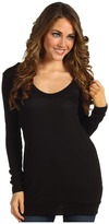 Three Dots L/S Scoop Oversized Sweater Tunic (Black/Caribbean) - Apparel