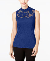 INC International Concepts Petite Lace Mock-Neck Top, Only at Macy's