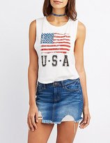 Charlotte Russe American Flag Graphic Muscle Tee