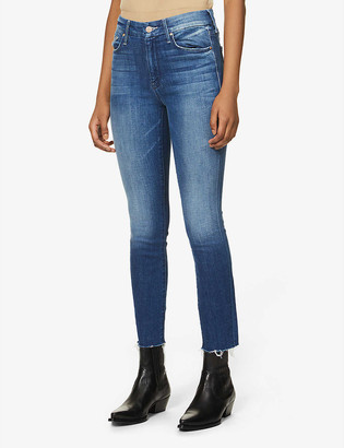 Mother The Looker Ankle Fray slim-fit tapered mid-rise jeans