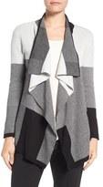 Chaus Women's Colorblock Jacquard Drape Front Cardigan