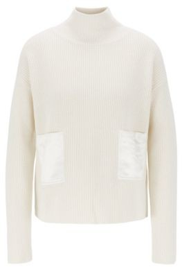 HUGO BOSS Regular Fit Sweater In Cotton And Cashmere - Natural