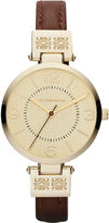 Liz Claiborne Womens Gold-Tone Watch with Skinny Leather Strap