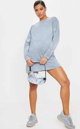 PrettyLittleThing Grey Slogan Printed Long Sleeve T Shirt Dress