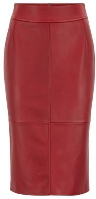 BOSS Regular-fit pencil skirt in lambskin