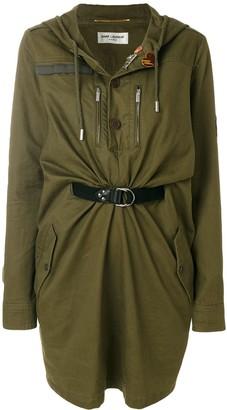 Saint Laurent Hooded Belted-Waist Mini Dress