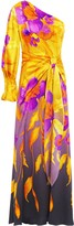 Peter Pilotto One-shoulder Knotted Floral-print Hammered Stretch Silk-satin Gown