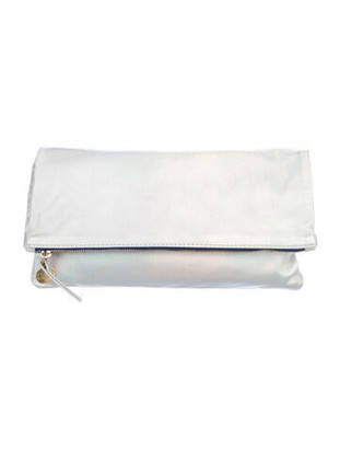Clare Vivier Leather Fold-Over Clutch Metallic