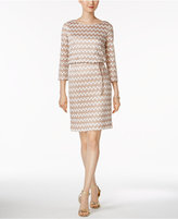 Jessica Howard Petite Chevron-Print Blouson Dress