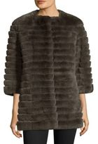 Glamour Puss Glamourpuss Collarless Rabbit Fur Short Coat