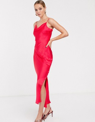 Glamorous midaxi slip dress with cowl neck in satin-Red