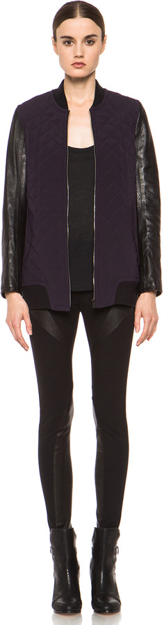 Rag and Bone rag & bone Pacific Silk Jacket with Leather in Eggplant
