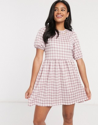Stradivarius mini smock dress in pink check