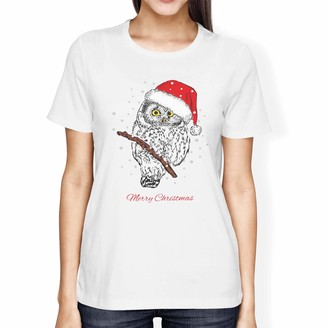 1Tee Womens Loose Fit Owl Merry Christmas Animal T-Shirt White Medium
