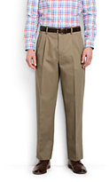 Lands' End Men's Pleat Front Traditional Fit No Iron Chino Pants-Light Stone