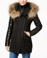 Rudsak Connington Asiatic Raccoon-Fur-Trim Leather-Sleeve Coat
